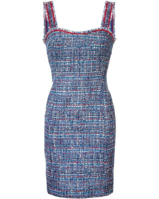 Boutique Moschino | Blue Tweed Fitted Dress | Lyst
