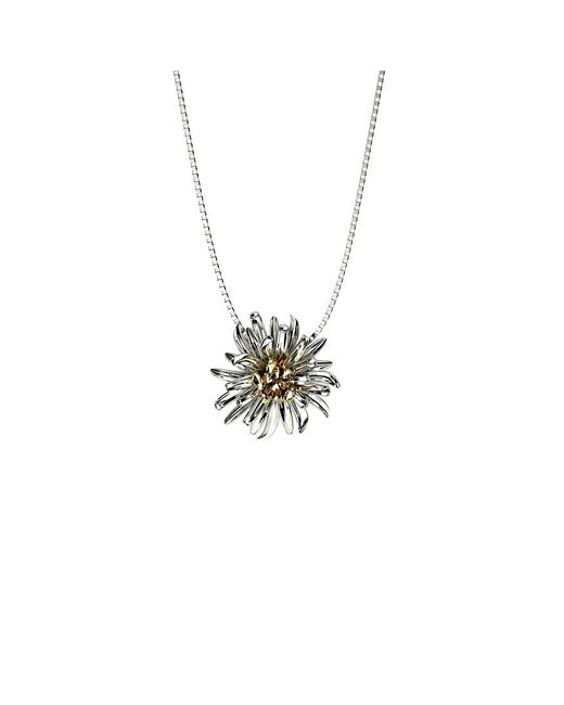 Azendi | Metallic Sterling Silver Chrysanthemum Pendant | Lyst