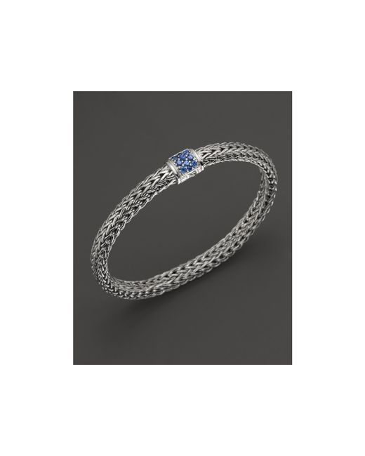 John Hardy | Classic Chain Sterling Silver Small Bracelet With Blue Sapphire Clasp | Lyst