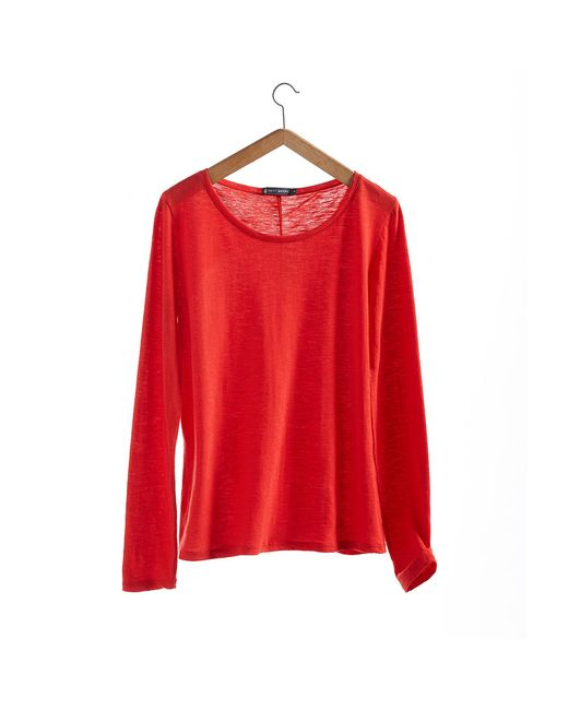 Petit Bateau | Red Women's Long-sleeved, Round Neck Tee In Plain Jersey Stockinette | Lyst