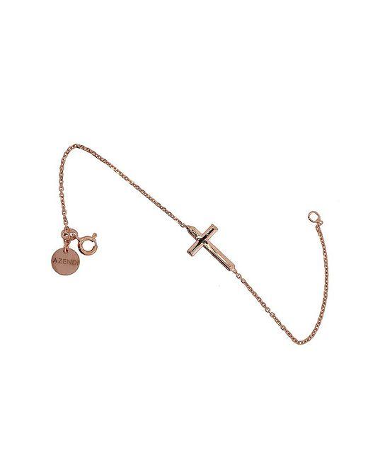 Azendi | Metallic Rose Vermeil Silver Cross Bracelet | Lyst