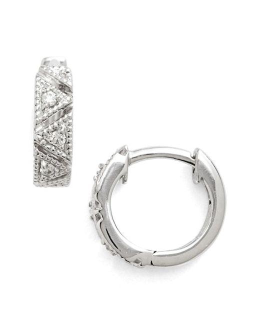 Dana Rebecca | White 'kathryn Lynn' Diamond Hoop Earrings | Lyst