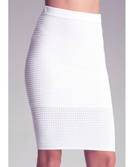 bebe openwork ottoman skirt in white bright white save