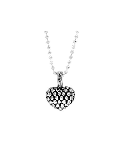 Lagos | Metallic Sterling Silver Beaded Heart Pendant Necklace | Lyst