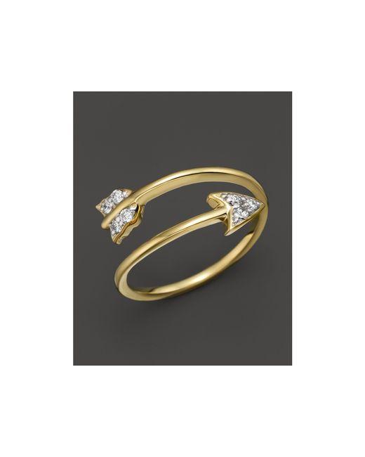 KC Designs   Diamond Arrow Ring In 14k Yellow Gold, .09 Ct. T.w.   Lyst