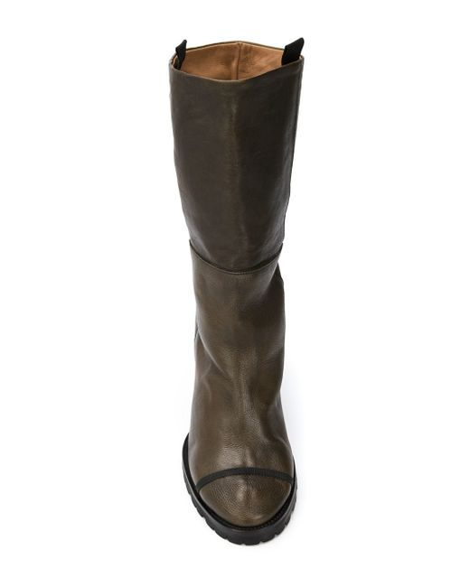 chuckies new york wedge mid calf boots in green save 71