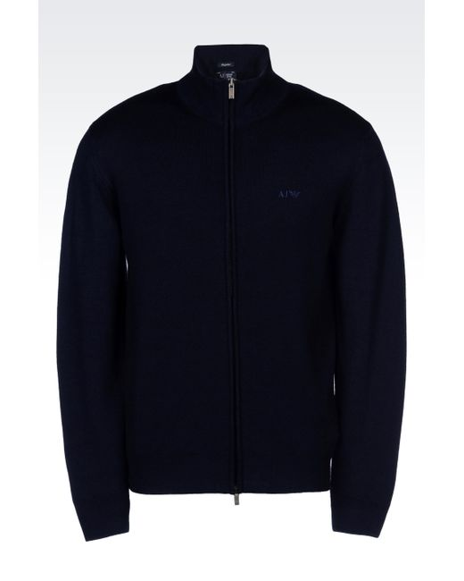Armani Jeans | Blue Full Zip Cardigan In Virgin Wool for Men | Lyst