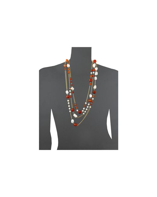 "Kenneth Jay Lane | Multicolor 36"" Three Row Link Multi Beads Necklace 