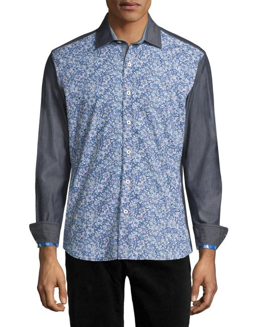 Robert Graham | Blue Bamboo Orchid Long-sleeve Sport Shirt for Men | Lyst