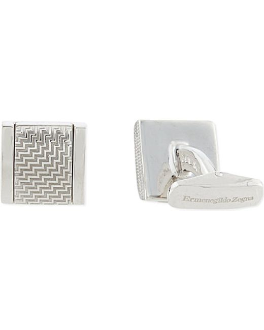 Ermenegildo Zegna | Metallic D-Shaped Zig-Zag Texture Cufflinks - For Men for Men | Lyst