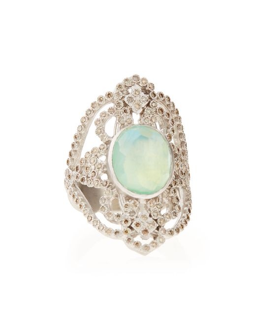 Armenta | Metallic New World Chrysoprase Diamond Scroll Ring | Lyst