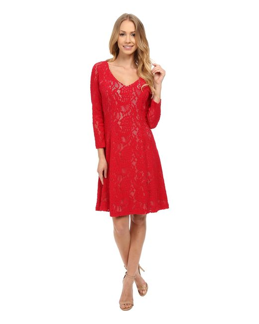 NYDJ | Red Amelia All Over Lace Dress | Lyst