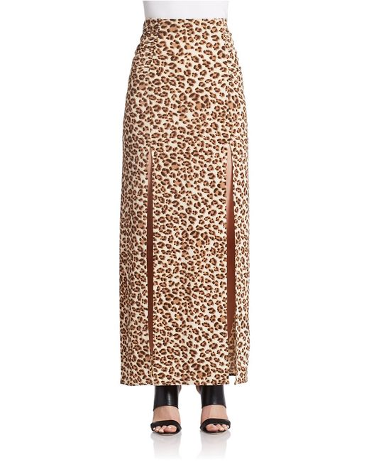 Guess | Brown Ruched Maxi Skirt | Lyst