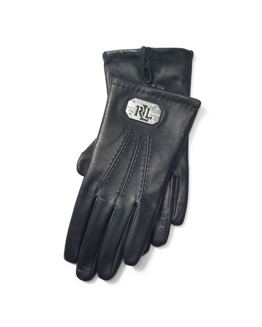 Pink Pony | Black Plaque Leather Gloves | Lyst