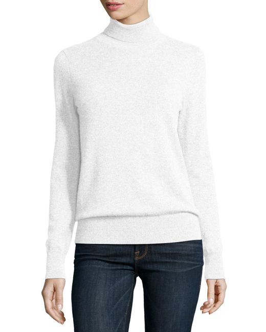 Neiman Marcus | White Classic Long-sleeve Cashmere Turtleneck | Lyst