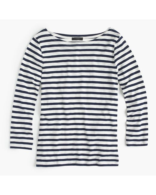 J.Crew | Blue Striped Cotton T-Shirt | Lyst