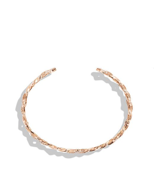 David Yurman | Pink Venetian Quatrefoil Single-row Cuff Bracelet With Diamonds In Rose Gold | Lyst