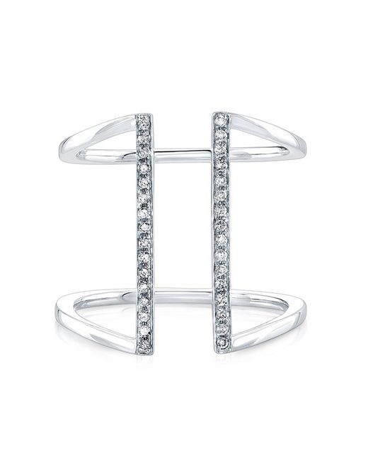 Anne Sisteron | Metallic 14kt White Gold Diamond Straight Double Bar Ring | Lyst