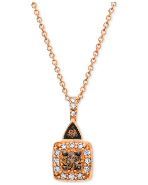 Le Vian | Chocolate By Petite Brown And White Diamond (1/4 Ct. T.w.) Square Pendant In 14k Rose Gold | Lyst