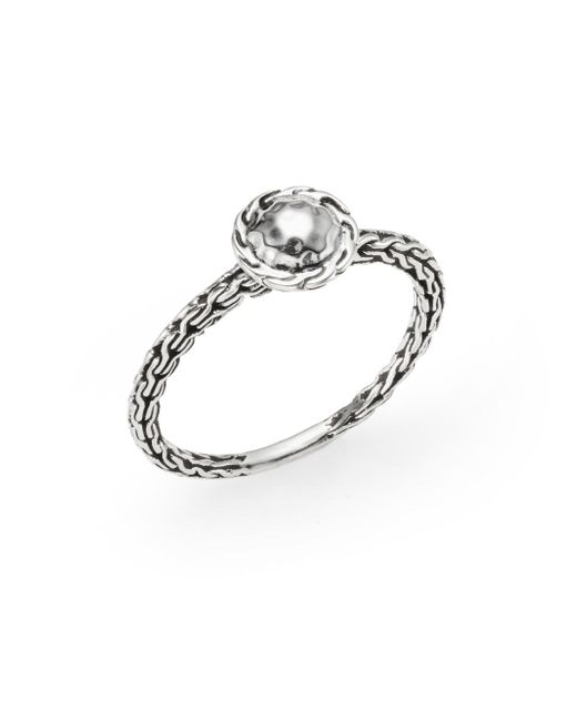 John Hardy | Metallic Sterling Silver Carved Chain Disc Ring | Lyst