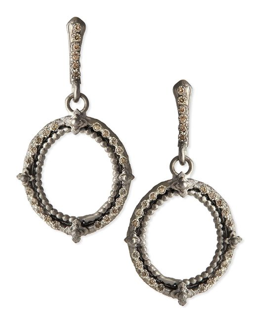 Armenta | Metallic New World Champagne Diamond Oval Earrings | Lyst