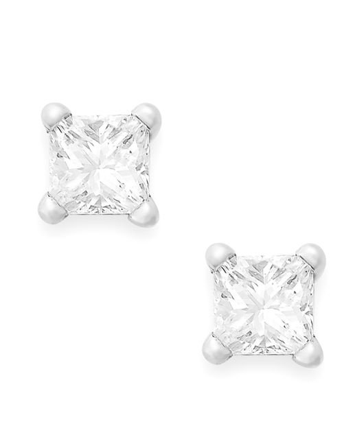Macy S Princess Cut Diamond Stud Earrings In 10k White Or Yellow Gold 1 6 Ct T W In White
