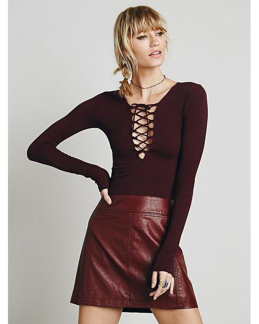Free People | Purple Zip To It Vegan Leather Mini Skirt | Lyst