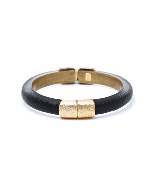 Alexis Bittar | Black Small Gold Textured End Cap Hinged Bracelet You Might Also Like | Lyst