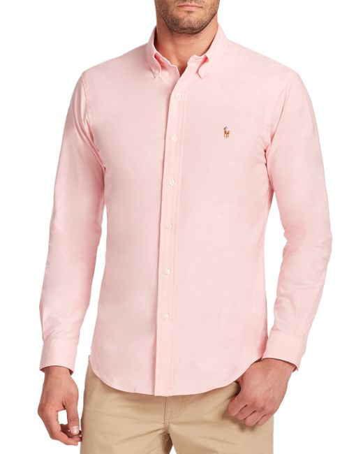 Polo Ralph Lauren | Pink Slim-fit Stretch Oxford Sportshirt for Men | Lyst