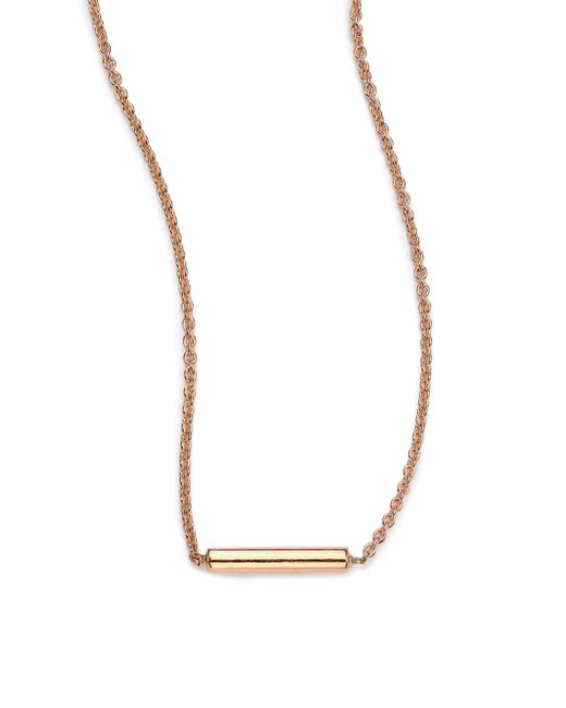 Ginette NY | Metallic 18k Rose Gold Strip Pendant Necklace | Lyst