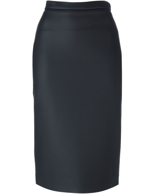 msgm back zip pencil skirt in black lyst
