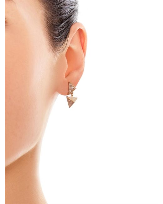Ileana Makri | White-Diamond & Yellow-Gold Pyramid Earrings | Lyst