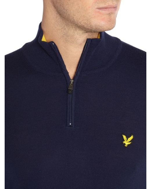 Lyle & Scott | Blue Golf Merino ¼ Zip Jumper for Men | Lyst