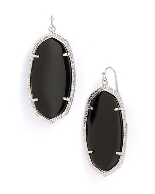 Kendra Scott | Metallic 'danielle - Large' Oval Statement Earrings - Rhodium/ Black | Lyst
