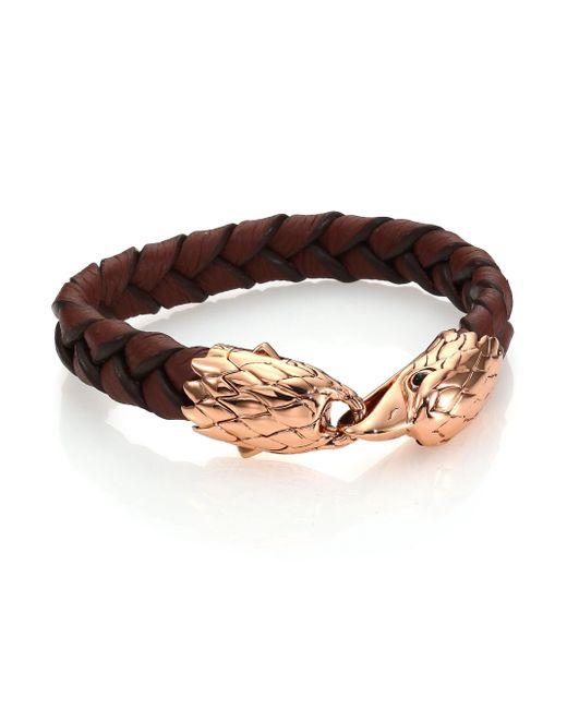 John Hardy   Metallic Classic Chain Woven Leather & Bronze Eagle Bracelet for Men   Lyst