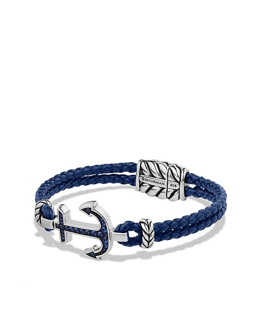 David Yurman | Pavé Anchor Bracelet With Blue Sapphire for Men | Lyst