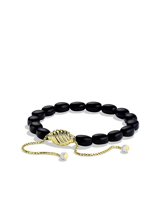David Yurman | Signature Spiritual Beads Bracelet With Black Onyx And Diamonds In Gold | Lyst