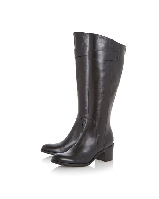 Dune Black | Black Tommie Back Zip Block Heeled Knee Boots | Lyst