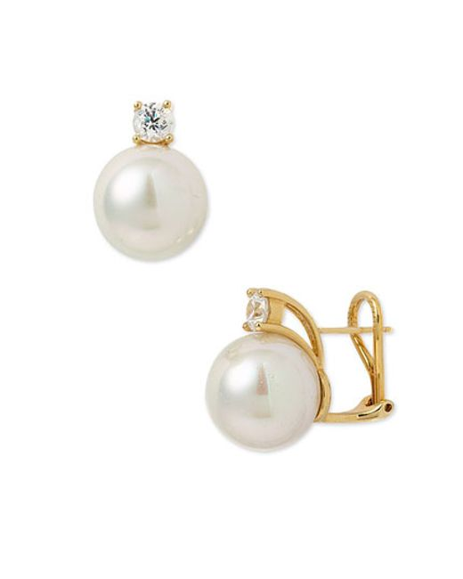 Majorica | White 12mm Round Pearl Stud Earrings With Cubic Zirconia | Lyst