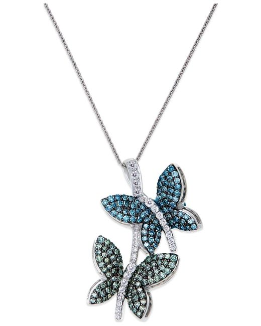 Macy's | Metallic Diamond Butterfly Pendant Necklace In 14k White Gold (3/4 Ct. T.w.) | Lyst