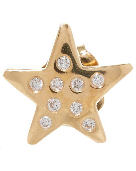 Andrea Fohrman Gold Black Diamond Star Stud Earring In