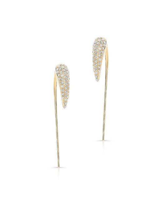 Anne Sisteron | 14kt Yellow Gold Diamond Horn Long Back Bar Earrings | Lyst