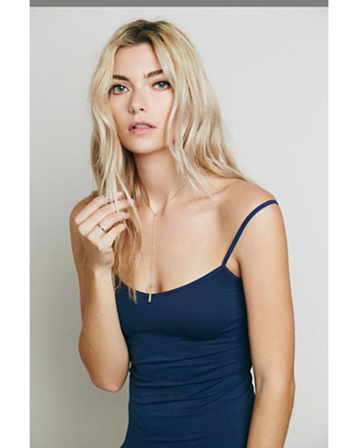 Free People | Blue Tea Length Seamless Slip | Lyst