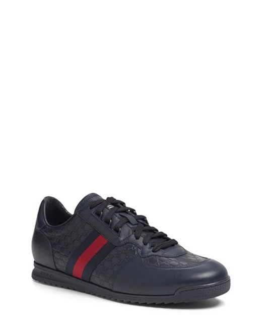 Gucci | Blue Sl 73 Leather-Paneled Sneakers for Men | Lyst