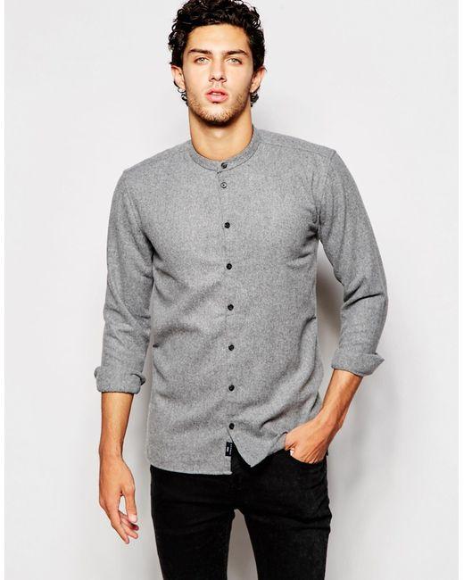 Minimum grandad collar shirt in gray for men grey lyst Mens grandad collar shirt