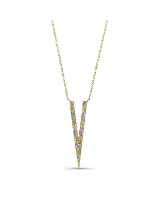 Anne Sisteron | Metallic 14kt Rose Gold Diamond Thin Petal Necklace | Lyst
