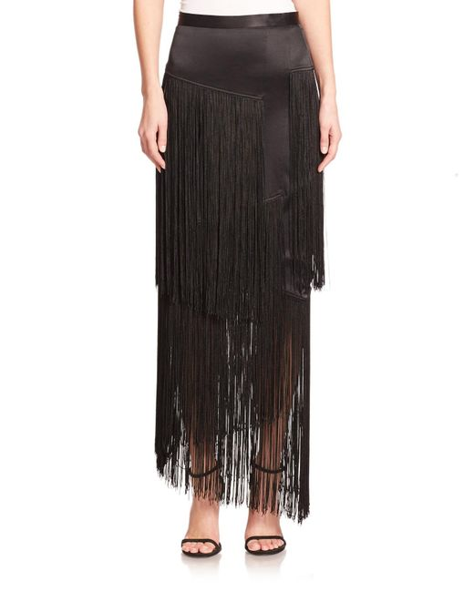 Tamara Mellon | Black Silk Layered Fringe Maxi Skirt | Lyst