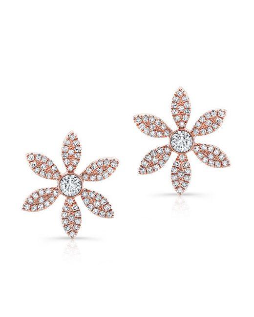 Anne Sisteron | Pink 14kt Rose Gold Diamond Edgy Daisy Flower Stud Earrings | Lyst