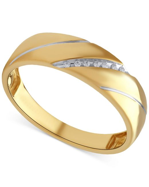 Beautiful Beginnings | Metallic Men's Diamond Accent Wedding Band In 14k Gold for Men | Lyst