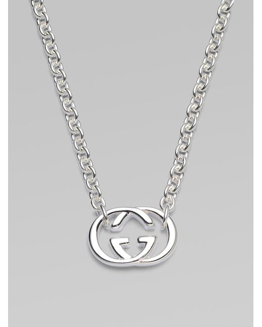 Gucci | Metallic Double G Sterling Silver Necklace | Lyst